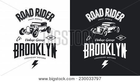 Vintage Hot Rod Black And White Tee-shirt Isolated Vector Logo. Premium Quality Old Sport Car Logoty