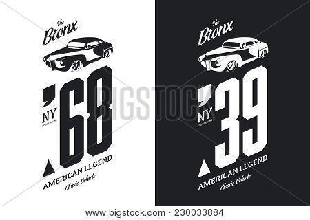 Vintage Vehicle Black And White Tee-shirt Isolated Vector Logo. Premium Quality Old Sport Car Logoty