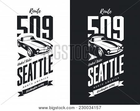 Vintage Sport Vehicle Black And White Isolated Vector Logo.premium Quality Classic Car Logotype Tee-