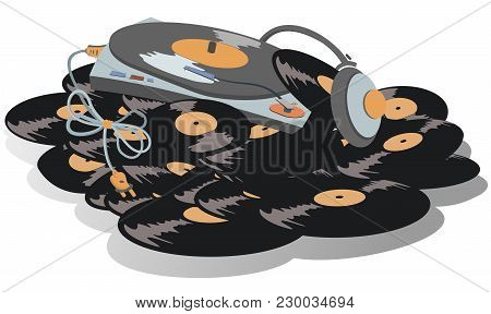 Record Player, Headphone On The Big Pile Of Vinyl Records Isolated On White Illustration