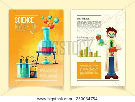 Science Brochure Vector Template, Front And Back Side, Educational Leaflet, Flyer With Different Che