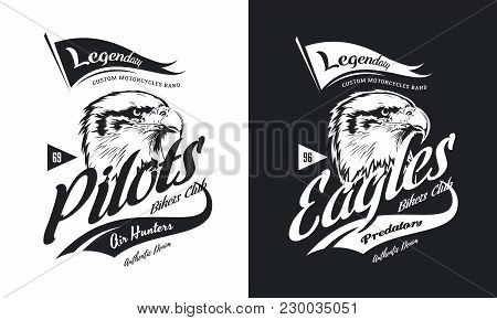 Vintage American Furious Eagle Custom Bikes Motor Club T-shirt Black And White Isolated Vector Logo.