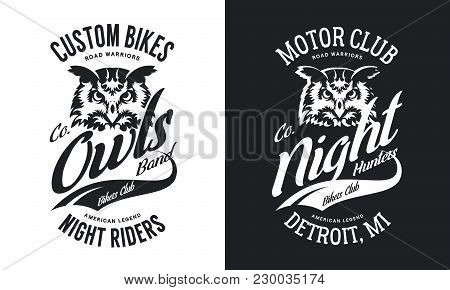 Vintage Bikers Club T-shirt Black And White Isolated Vector Logo.premium Quality Owl Bird Night Hunt