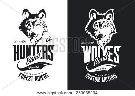 Vintage Wolf Custom Motors Club T-shirt Black And White Vector Logo. Premium Quality Bikers Band Log