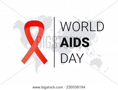 World Aids Day 1 December. Red Hiv Ribbon Awareness. Vector Illustration