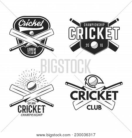 Cricket Logo Set, Sports Template Emblems Elements - Ball, Bat. Use As Icons, Badges, Label Designs