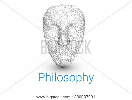 3d Model Of Human Face. A Background For A Textbook On Philosophy, A Logo For A Theater Or A Pseudo,