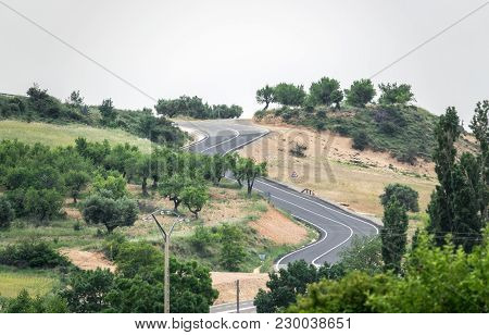 Winding Road With Curves, Mountain Road Curve Of The Road