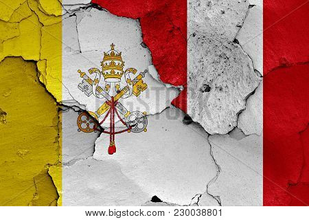 Flag Of Vatican And Peru Painted On Cracked Wall