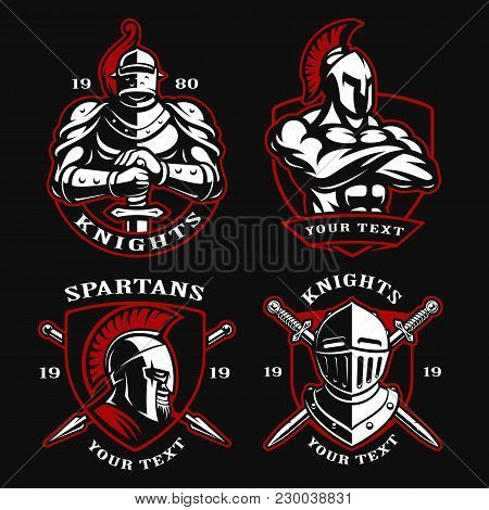Set Of Vector Illustrations With Ancient Warriors. Logo Design Of Knights And Spartans On Dark Backg