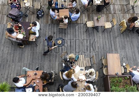 Paris, June 5, 2017 : People Is Havin Lunch In A Terrace Restaurant, Relaxing And Friendly Moment, S
