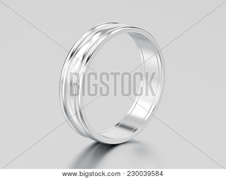 3d Illustration White Gold Or Silver  Matching Couples Wedding Ring Bands On A Gray Background