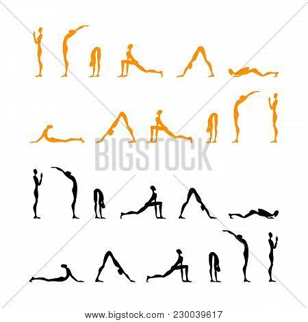Yoga Infographics, Surya Namaskar Set, Salutation The Sun