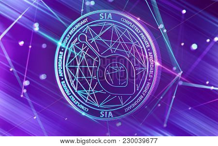 Neon Glowing Sia Coin In Ultra Violet Colors With Cryptocurrency Blockchain Nodes In Blurry Backgrou