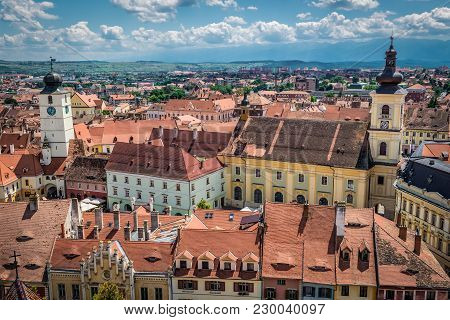 Sibiu, Romania - July 7, 2016: Holy Trinity Church And Council Tower In Sibiu Town, View From Cathed