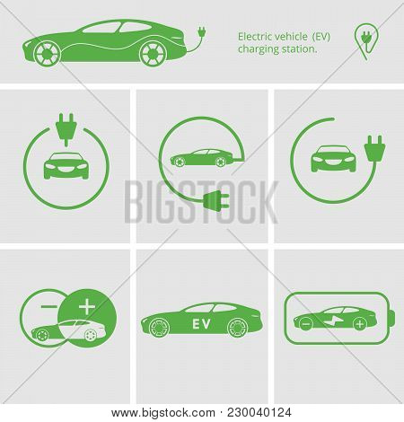 Vector Illustration Charging Station For Electric Car. Icons Pin Point Electric Vehicle Charging Sta