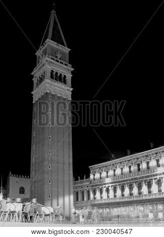 Bell Tower Of St. Mark In Venice In Italy By Night With Balck And White Effect