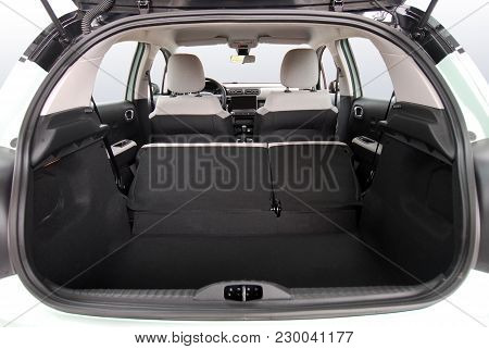 Empty Trunk Of The Small Green Car