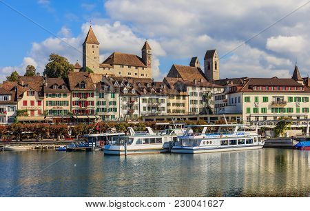 Rapperswil, Switzerland - 7 September, 2015: View Of The Historic Part Of The Town Over Lake Zurich.