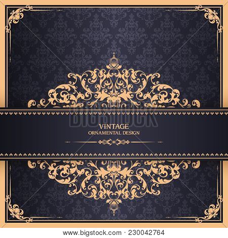 Vintage Template With Pattern And Ornate Borders. Ornamental Lace Pattern For Invitation, Greeting C