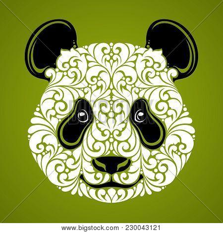 Ornamental Decorative Panda. Panda Bear Cute Face Isolated Icon Logo On Green Background Vector Illu