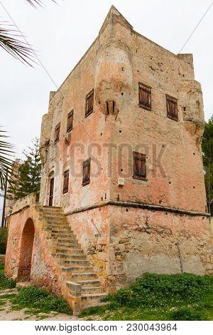 Aegina, Greece - February 19, 2018:  Historic Tower Of Markellos In The City Of Aegina, Island Of Ae