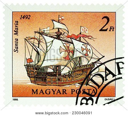 Moscow, Russia - March 07, 2018: A Stamp Printed In Hungary Shows Sailing Ship Santa Maria Of Christ