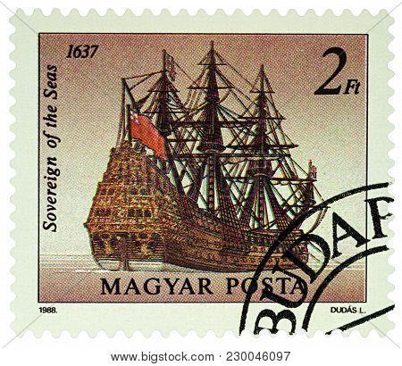 Moscow, Russia - March 07, 2018: A Stamp Printed In Hungary Shows Great English Battleship