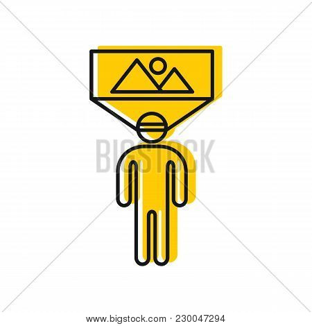 Man In Virtual Reality Icon. Doodle Illustration Of Man In Virtual Reality Space Vector Icon For Web