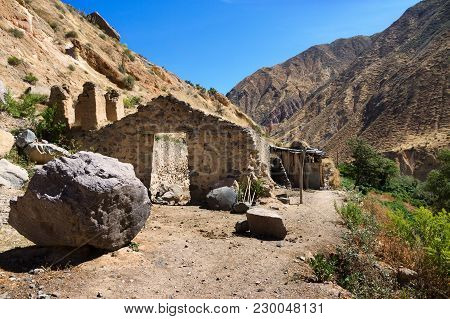 Ruins Of An Abandoned House At The Bottom Of The Colca Canyon In Arequipa Departement, Southern Peru