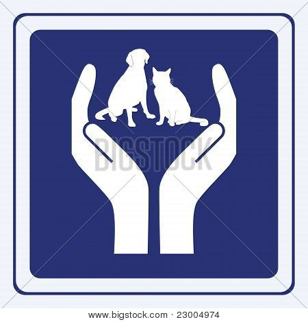 vector illustration of a pet protection sign poster