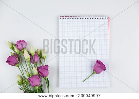 Blank Notepad With A Bunch Of Fresh Spring Tulips With A Single Flowers Lying On The Open Page Along