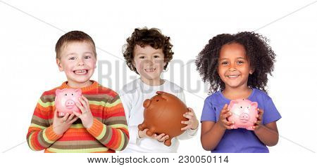 Three happy children with piggy-banks isolated on a white background