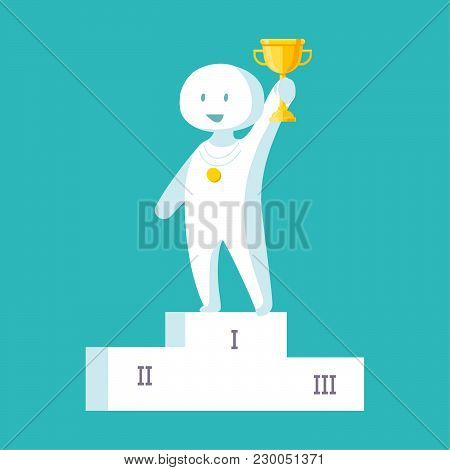Vector Illustration Of White Man Proudly Standing On The Winning Podium Holding Up Winning Trophy. F
