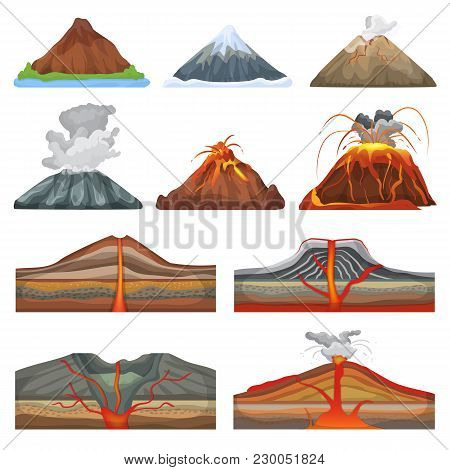 Volcano Vector Volcanic Eruption And Volcanism Or Explosion Convulsion Of Nature In Mountains Illust