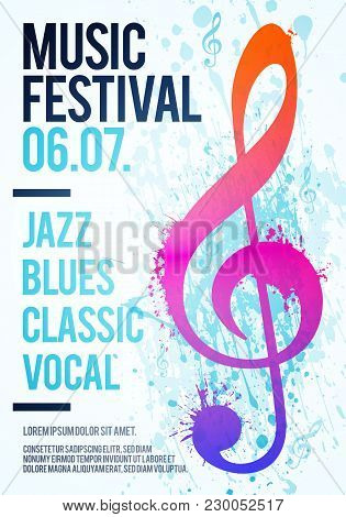 Vector Illustration Template Poster Flyer Music Festival Event With Clef Illustration And Texture Wa