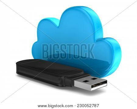 usb flash drive and cloud on white background. Isolated 3D illustration