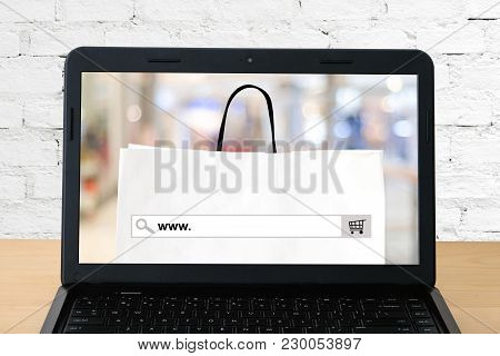 Www. On Search Bar Over Shopping Bag And Blur Store Background On Labtop Screen, On Line Shopping ,b