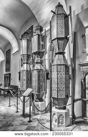 Wooden Pedestals In The Basilica Of Saint Ubaldo, Gubbio, Italy