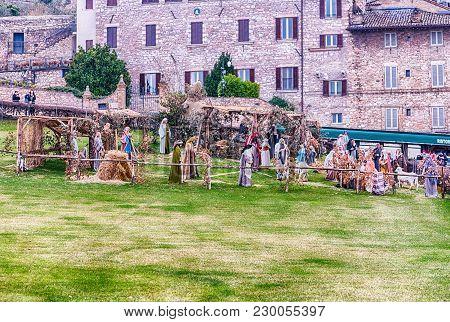 Life Size Nativity Scene, Basilica Of Saint Francis, Assisi, Italy