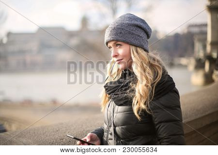 Blonde woman on the bridge