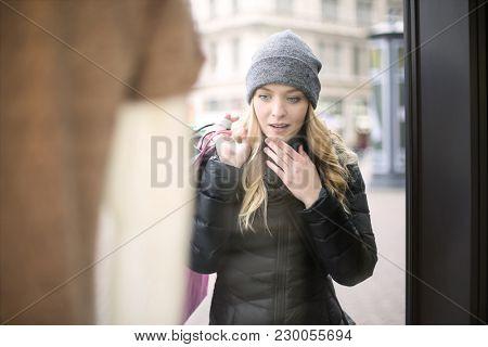 Girl doing window shopping