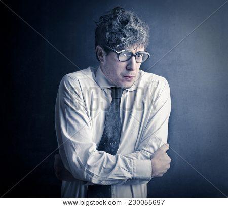 Portrait of freezing employee