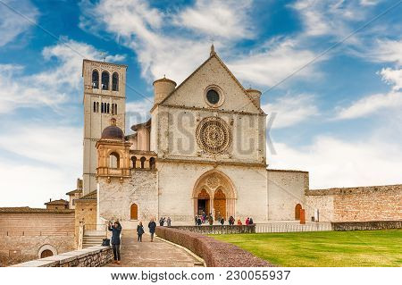 Facade Of The Basilica Of Saint Francis Of Assisi, Italy