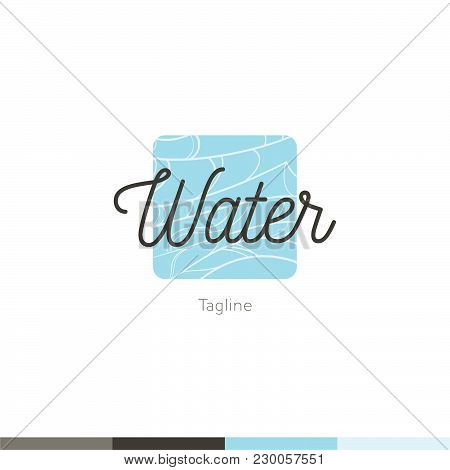 Water Company Aqua Mineral Logo With Blue Waves Isolated Vector Illustration