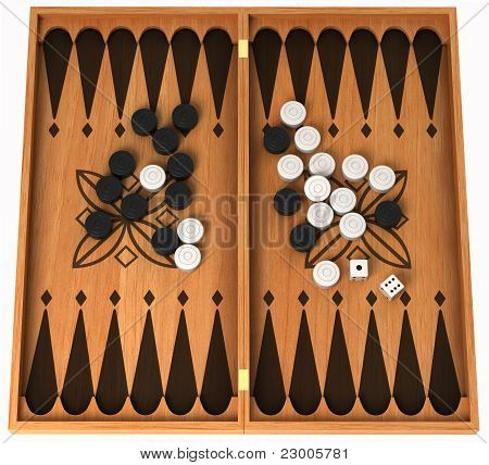 Leisure Activity: Wooden Backgammon Isolated
