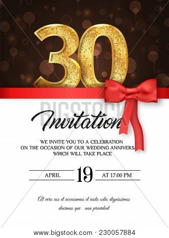 Template Of Invitation Card To The Day Of The Thirtieth Anniversary With Abstract Text Vector Illust