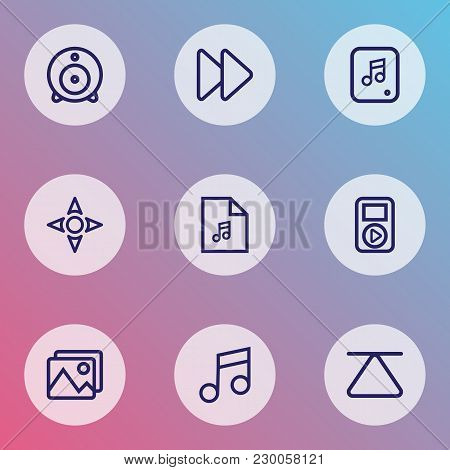 Multimedia Icons Line Style Set With Music, Web Cam, Picture And Other Musical Note Elements. Isolat