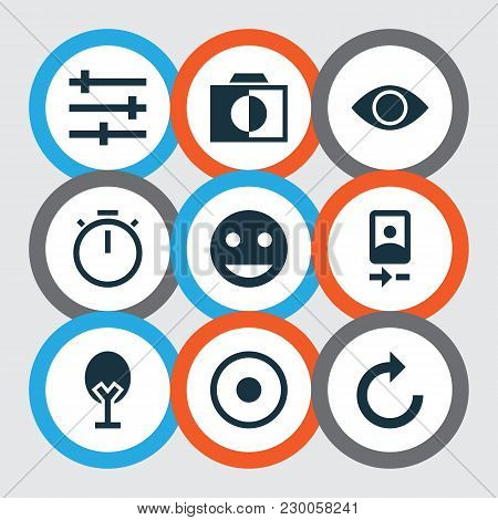 Image Icons Set With Camera Front, Remove Red Eye, Timer And Other Reload Elements. Isolated Vector