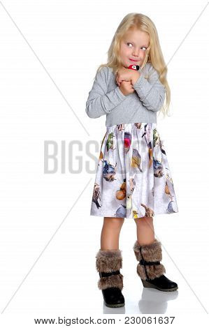 A Cute Little Caucasian Girl With A Toy In Her Hands. The Concept Of A Happy Childhood, Family. Isol